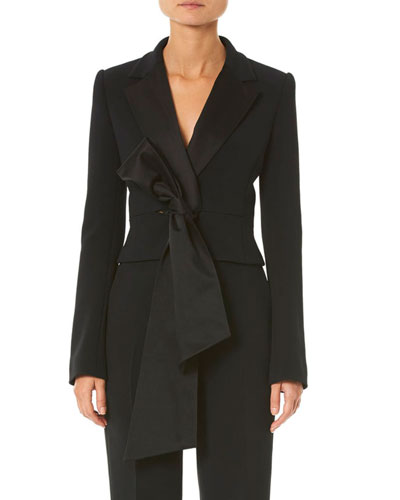 Knotted-Front Cropped Blazer Jacket