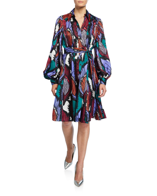 Carolina Herrera Dresses PUFF-SLEEVE FEATHER-PRINT DRESS