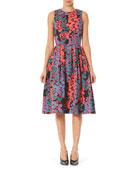 Carolina Herrera Floral Box-Pleated Fit-&-Flare Midi Dress