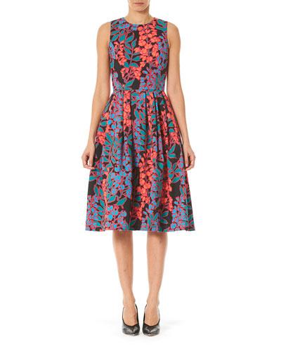 Floral Box-Pleated Fit-&-Flare Midi Dress