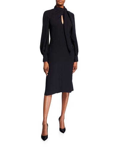 Bow-Neck Puff-Sleeve Silk Dress