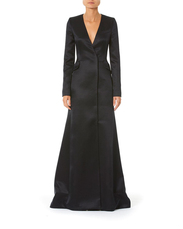Carolina Herrera Suits LONG-SLEEVE SATIN SUIT GOWN