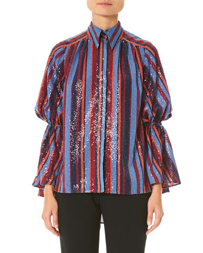56a01ce6f9326 Quick Look. Carolina Herrera · Sequined Puff-Sleeve Button Front Shirt