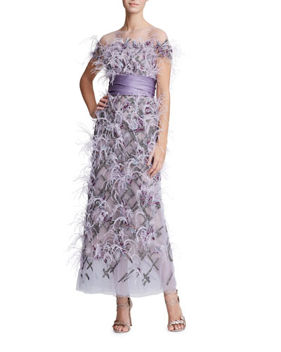 Short-Sleeve Feather-Trim Tulle Illusion Long Dress