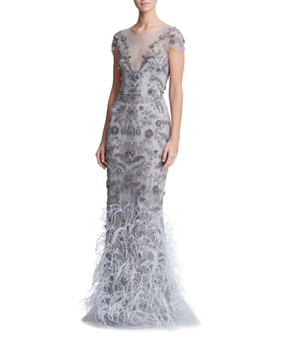 Feather-Embellished Tulle Illusion Gown
