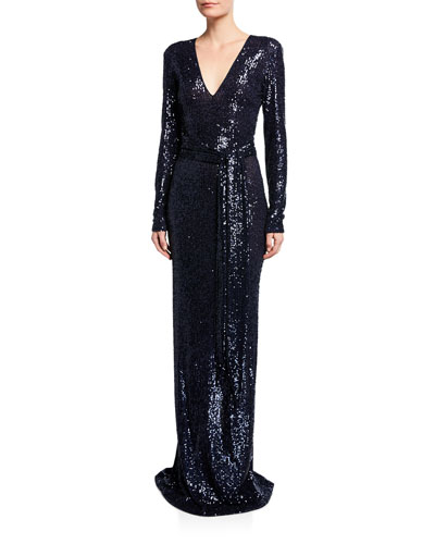 Long-Sleeve V-Neck Gown