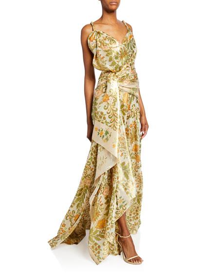 Oscar de la Renta Floral Bouquet Metallic Drape-Front Gown