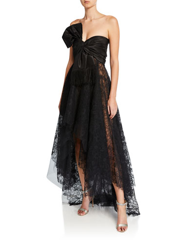 Strapless Corded Peony Lace Bow Gown