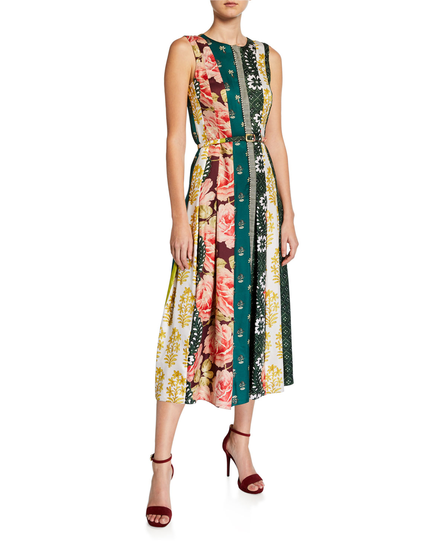 Oscar De La Renta Dresses SCARF-STRIPED PLEATED MIDI DRESS