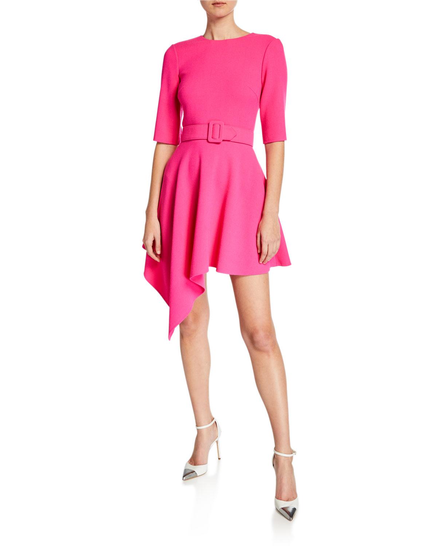 Oscar De La Renta Dresses ASYMMETRIC SHORT-SLEEVE DAY DRESS