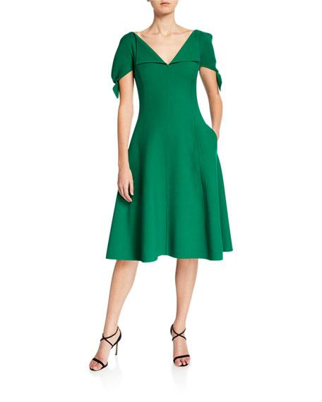 Oscar de la Renta V-Neck Slit-Sleeve Dress