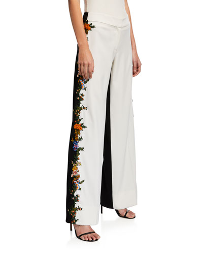 Embroidered Side-Striped Two-Tone Pants