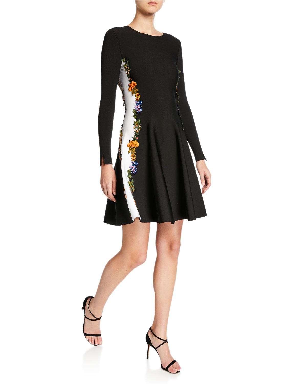 Oscar De La Renta Dresses LONG-SLEEVE EMBROIDERED SIDE-STRIPED DRESS