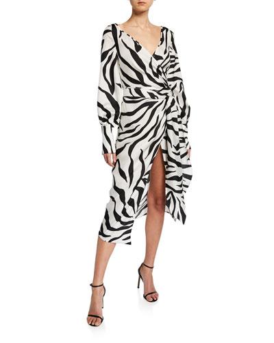 Zebra-Print Crossover V-Neck Dress