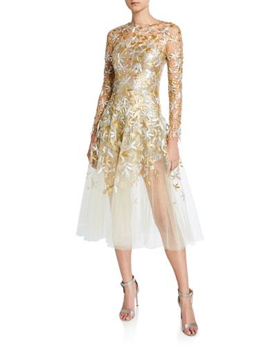 Golden-Leaf Cocktail Dress