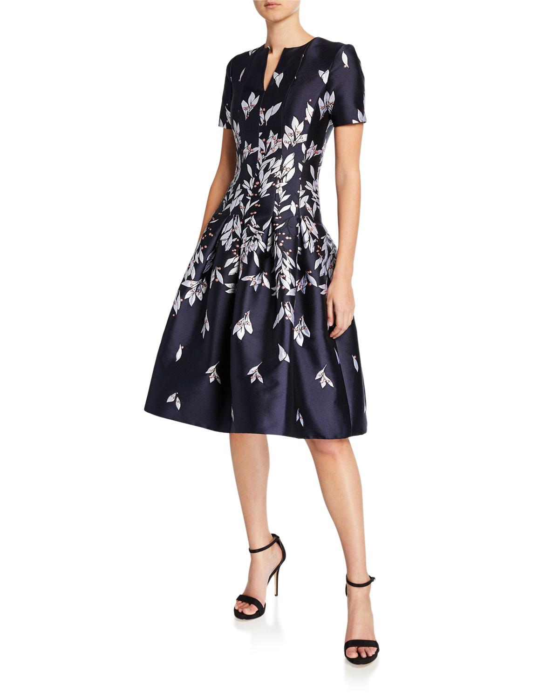 Oscar De La Renta Dresses SHORT-SLEEVE FLORAL MIKADO FIT & FLARE DRESS