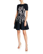 Oscar de la Renta Short-Sleeve Floral-Intarsia Knit Dress
