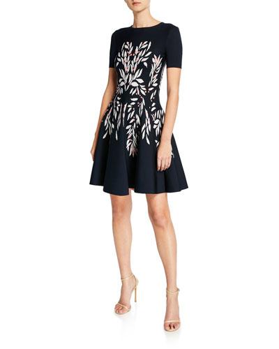 Short-Sleeve Floral-Intarsia Knit Dress