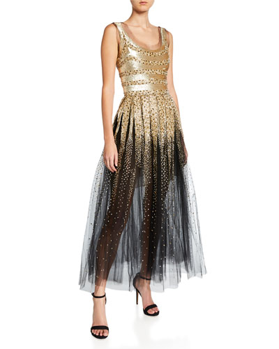 Mixed-Stripe Sequined Tulle Cocktail Dress