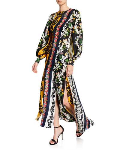 Long-Sleeve Vintage Patchwork Twill Dress