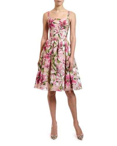 Thin-Strap Organza Dress