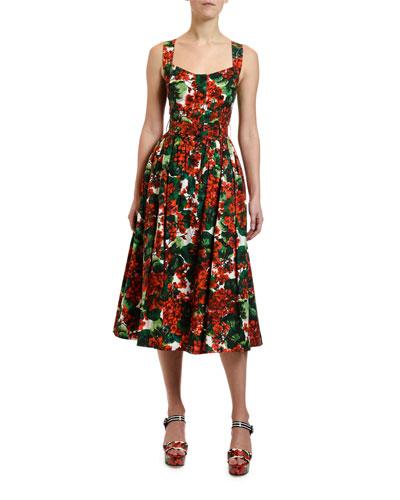 Geranium Print Cotton Midi Dress