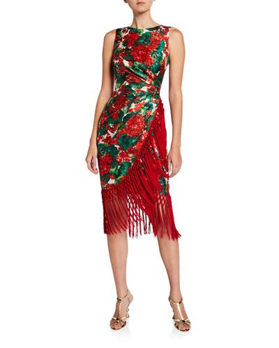 Geranium-Print Twill Fringe Dress