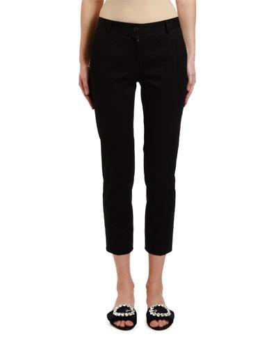 Stretch-Cotton Gabardine Ankle Pants