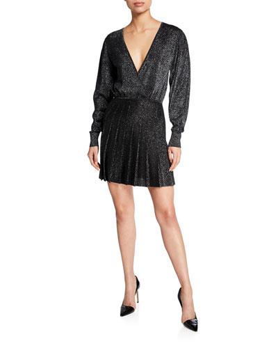 Blouson-Sleeve Knit Mini Dress