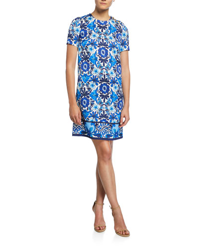 Ceramic-Print Hammered Shift Dress