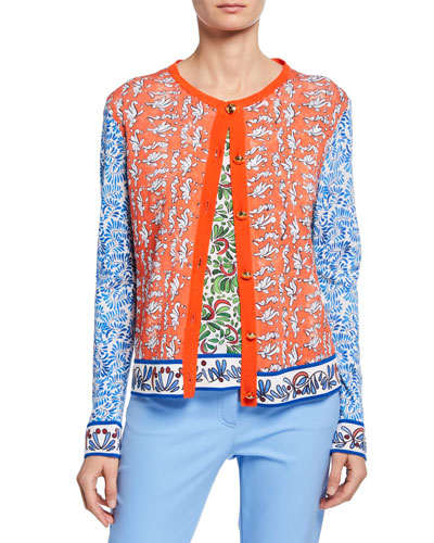 Golden-Button Front Ceramic Print Cardigan