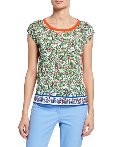 Escada Ceramic-Print Cap-Sleeve Top