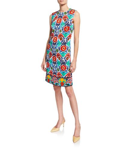 Ceramic-Print Sheath Dress
