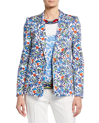 Stretch Ceramic-Print Cotton Blazer Jacket