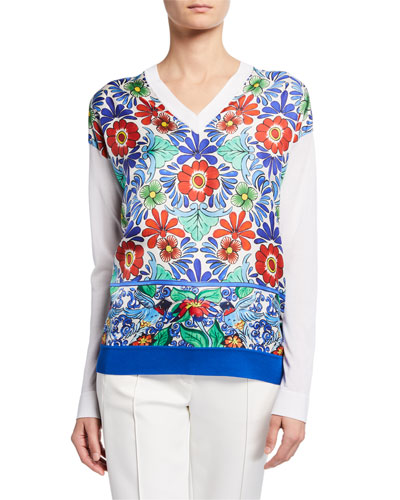 Ceramic-Print Silk-Front Sweater