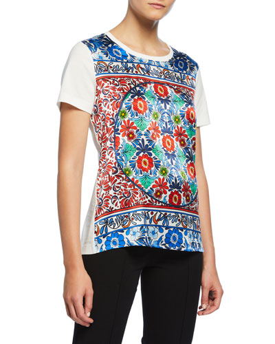 Short-Sleeve Ceramic-Print Silk Front Tee