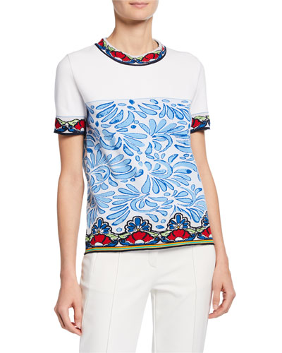 Short-Sleeve Ceramic Intarsia Shirt