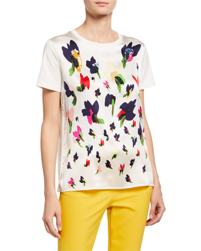 Abstract Floral Silk-Front Tee