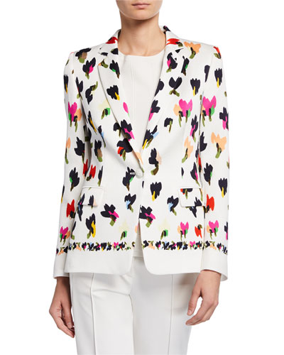 Abstract Floral-Print Hammered Blazer