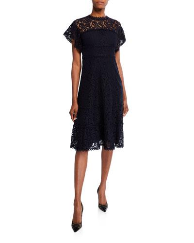 Cap-Sleeve Lace Illusion Dress