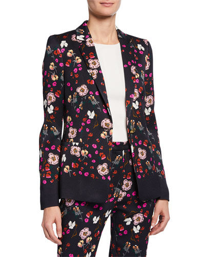 Floral Jacquard One-Button Jacket