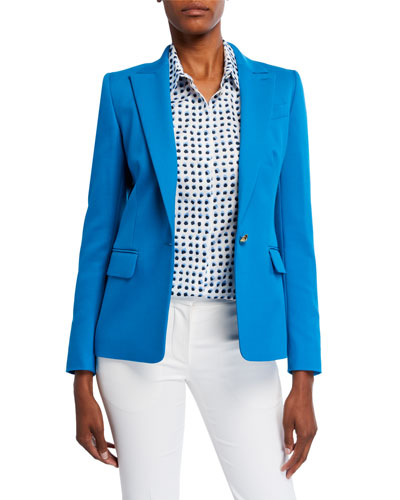 Cotton-Blend One-Button Twill Jacket