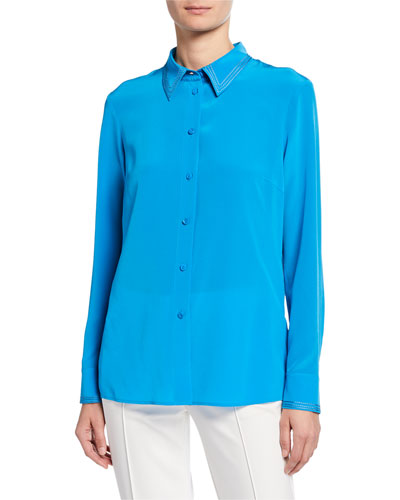 Stitched Georgette Button-Front Blouse