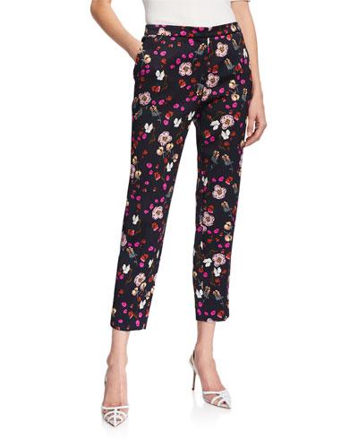 Talaranto Floral Jacquard Pants, Black