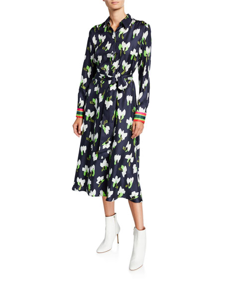 Escada Abstract Floral-Print Shirtdress