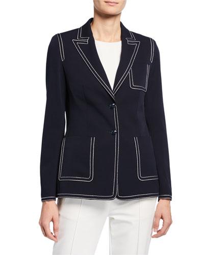 Contrast-Stitched Blazer Jacket