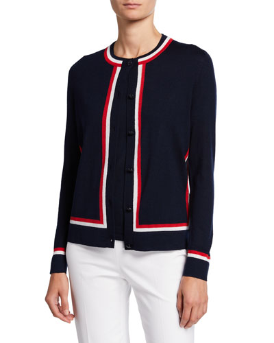 Racing-Striped Wool-Silk Button-Front Cardigan