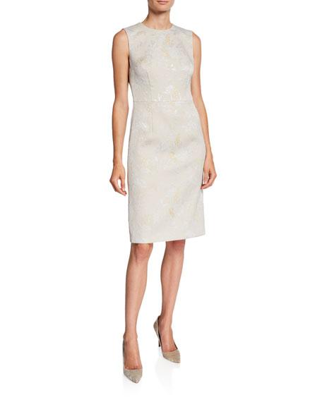 Escada Metallic Jacquard Sleeveless Midi Dress