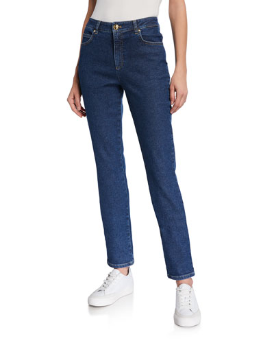 J659 Crest-Embroidered Straight-Leg Jeans