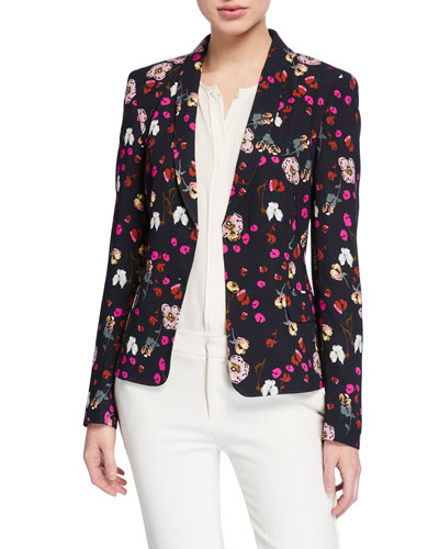 ebbaca9400c Quick Look. Escada · Brikenab Floral-Print Jersey Blazer Jacket. Available  in Black Pattern